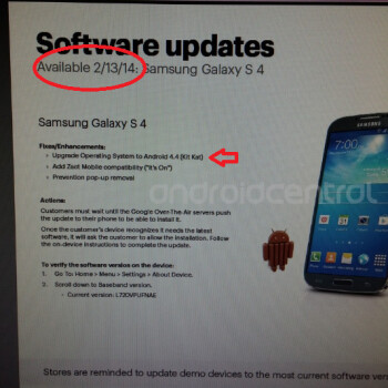 Leaked internal Sprint document points to an update tomorrow to Android 4.4 for Sprint owners of the Samsung Galaxy S4
