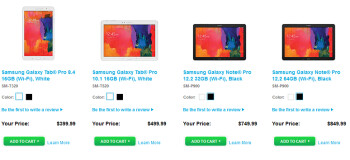 Samsung's Galaxy NotePRO and Samsung Galaxy TabPRO tablets can now be purchased