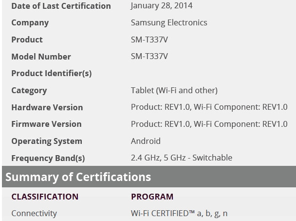 Samsung Galaxy Tab 4 8.0 to have a Snapdragon 400 CPU; a Verizon version (SM-T337V) might be in the works