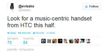 Tweet from evleaks outs HTC's plans for a music-centric phone for the first half of this year
