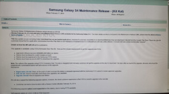 Leaked internal document reveals that the Samsung Galaxy S4 update to Android 4.4 will begin Wednesday