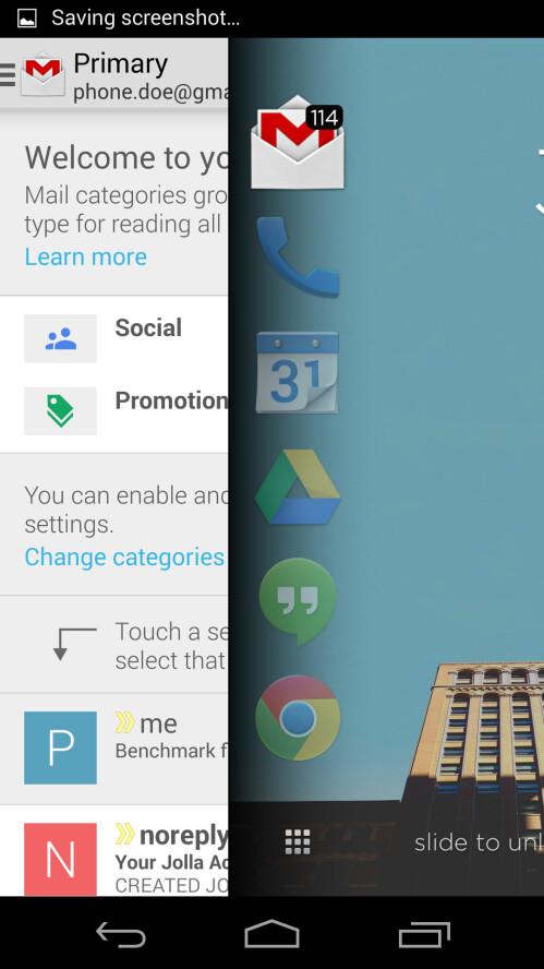 Peeking to see the Gmail app