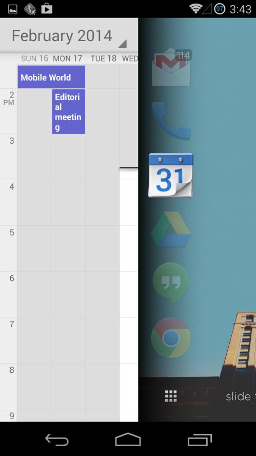 Peeking to see the Calendar app