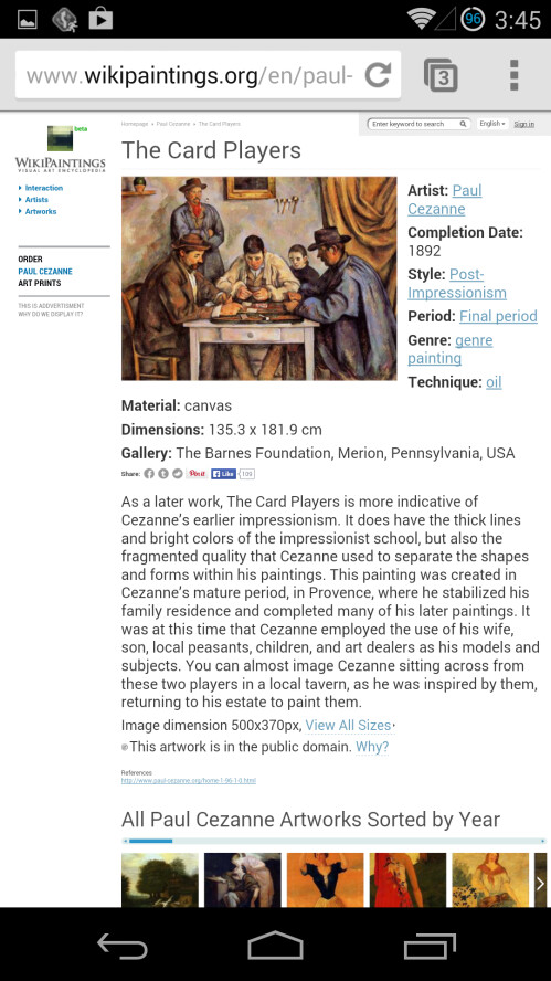 You can also see information about the artwork in museum (the functionality is not enabled for all extensions)