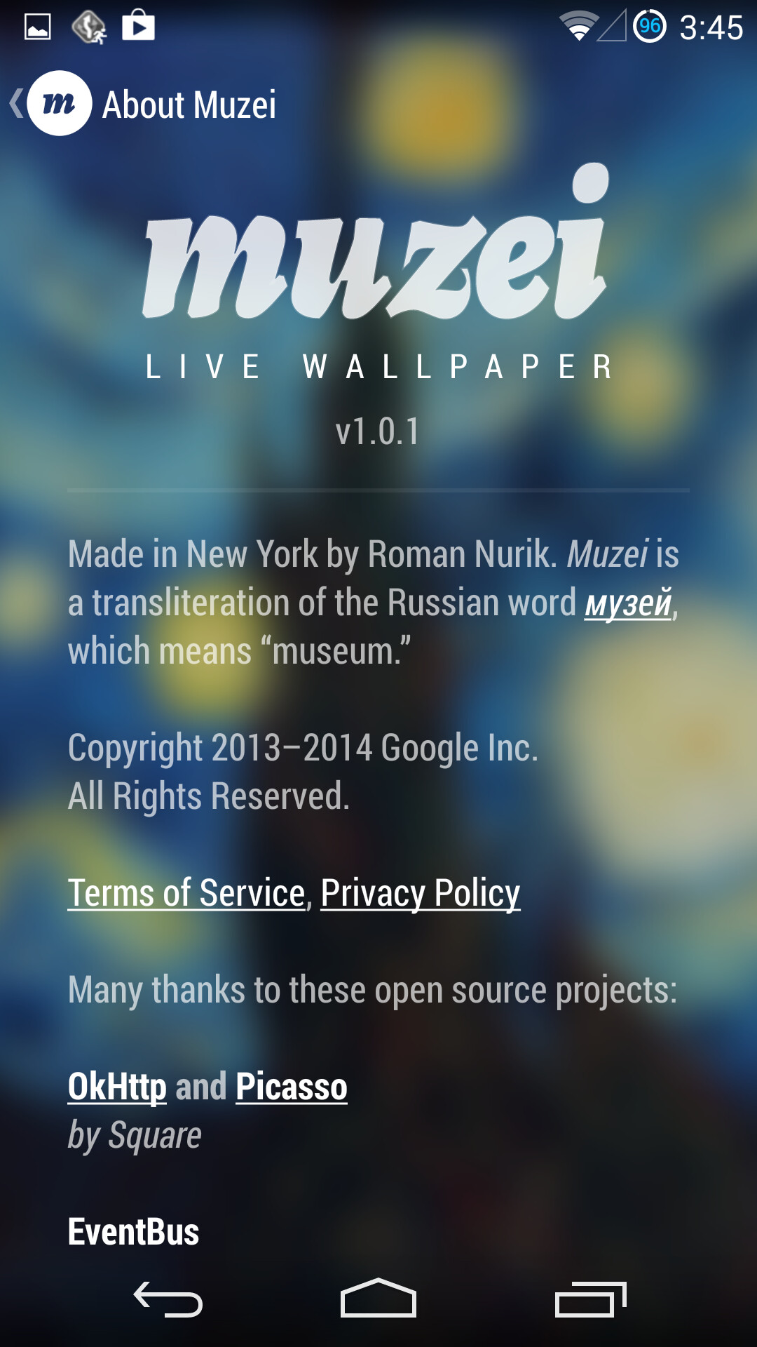the muzei live wallpaper app