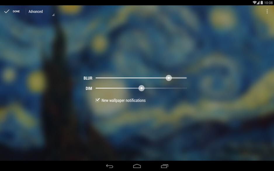 You can select the blur and dim levels - Muzei Live Wallpaper Review: the Android wallpaper Lollapalooza