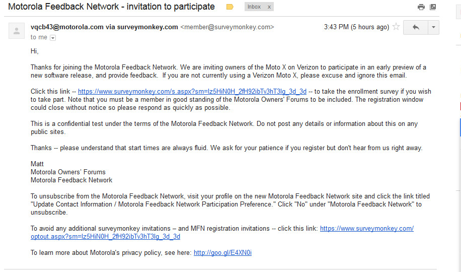 Verizon Moto X users getting soak test invites likely for
