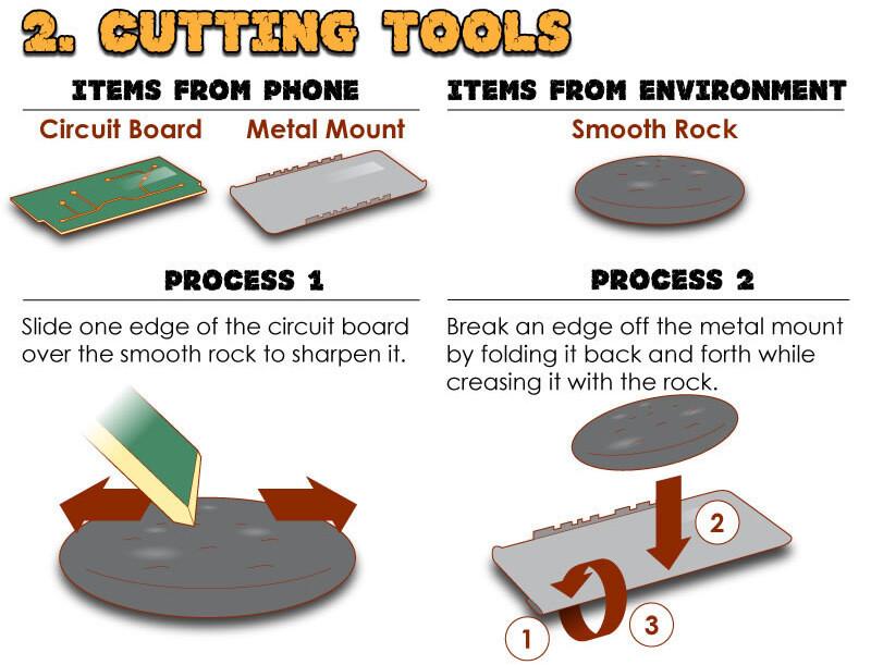 Sforum - Trang thông tin công nghệ mới nhất Making-a-cutting-tool Một chiếc điện thoại hỏng sẽ có ích thế nào khi bạn bị lạc trong rừng?