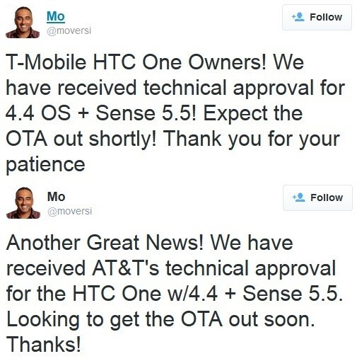 HTC One KitKat update for AT&T and T-Mobile approved, UPDATE: T-Mobile OTA beginning