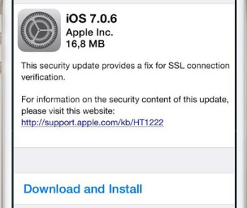 Apple sent out iOS 7.0.6 to repair a security flaw