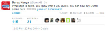 Durex tweets about other things to do when WhatsApp was down