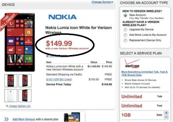 Wirefly and Verizon will sell you the Nokia Lumia Icon for $149.99