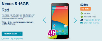 The Nexus 5 has been cut in price at Carphone Warehouse