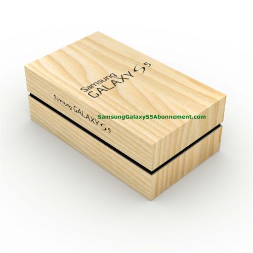 Presumed Galaxy S5 box leaks, flaunts faux-wood finish