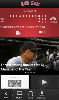 Screenshots from At Bat for BlackBerry 10
