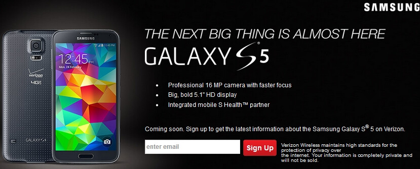 Verizon Tweets image and sign-up page for their Samsung Galaxy S5