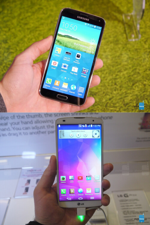 Samsung Galaxy S5 (on top) vs LG G Pro 2 (bottom)