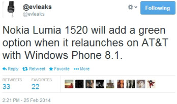 "Nokia Lumia 1520 to be re-launched by AT&T with Windows Phone 8.1 and a ""green option"""