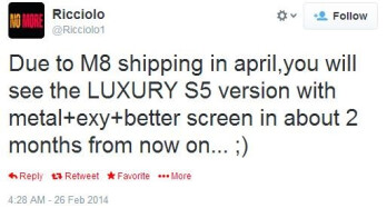 Metal-clad Galaxy S5 with better specs said to arrive in May as part of a 'luxury' F line by Samsung