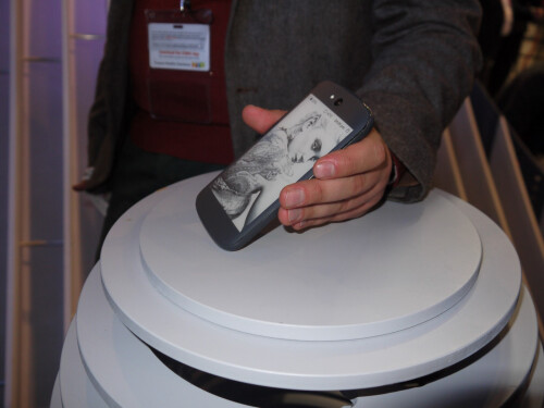 a unique phone with an e-ink display on its back
