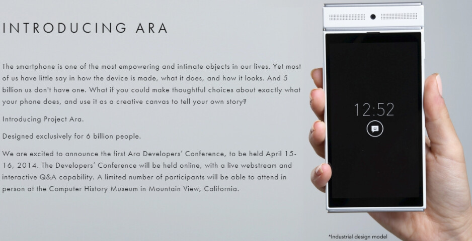 """Google's Project Ara is """"designed exclusively for 6 billion people"""", Ara Developers Conference scheduled for April"""