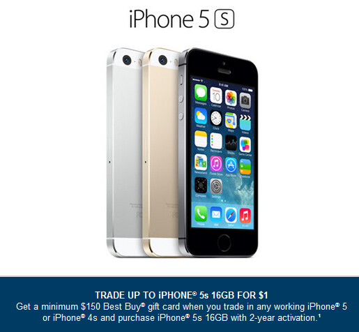 Get the Apple iPhone 5s from Best Buy for $1 today and tomorrow - Get the Apple iPhone 5s for $1 today and tomorrow from Best Buy
