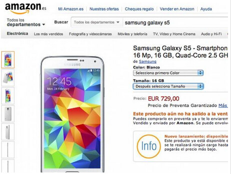 Amazon Spain takes pre-orders for the Samsung Galaxy S5 - Pre-order pricing suggests no price cut for the Samsung Galaxy S5