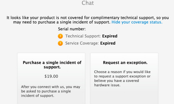 Apple will start charging for online chat support for devices out of warranty - Apple to offer paid chat for devices out of warranty as soon as next week?