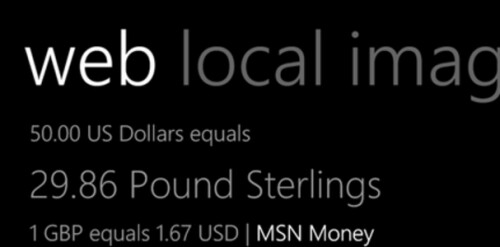 Forex conversions are available from Bing Search