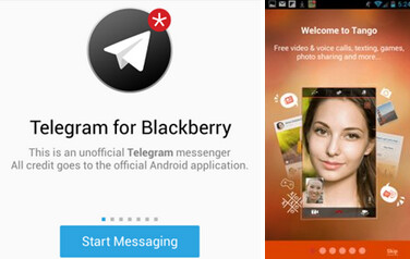 Telegram and Tango are now available in BlackBerry World, both ported over from Android - Cross platform messaging apps Tango and Telegram hit BlackBerry World, ported from Android