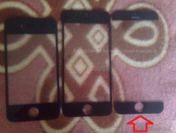 The arrow points out what is alleged to be the front panel for the Apple iPhone 6