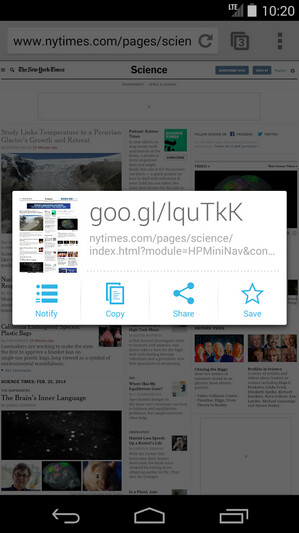 Screenshots from Google URL Shortener
