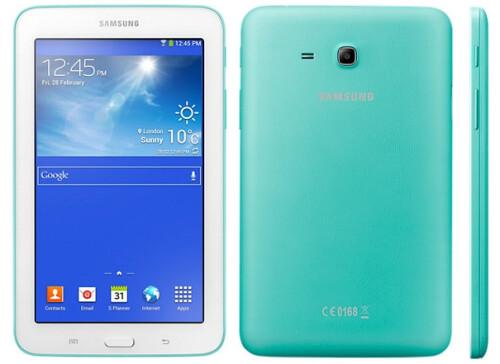 Samsung Galaxy Tab 3 Lite in Peach Pink, Blue Green and Lemon Yellow