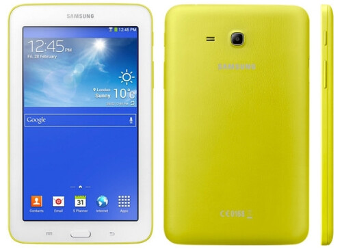 Samsung Galaxy Tab 3 Lite in Peach Pink, Blue Green and Lemon Yellow