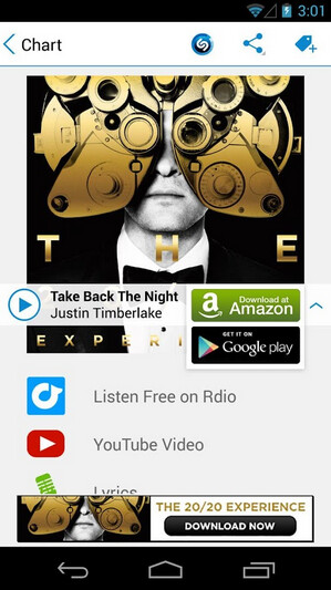 Screenshots from the Android version of Shazam - Shazam to match iOS update with Android re-design