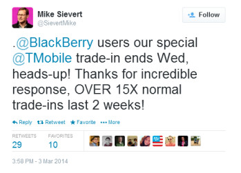 Tweet from T-Mobile CMO Mike Sievert reveals the success of the BlackBerry trade-in offer