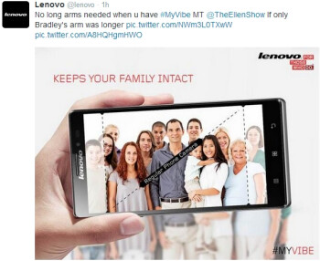 Lenovo also tries to poke fun at Samsung following Ellen's Oscar selfies