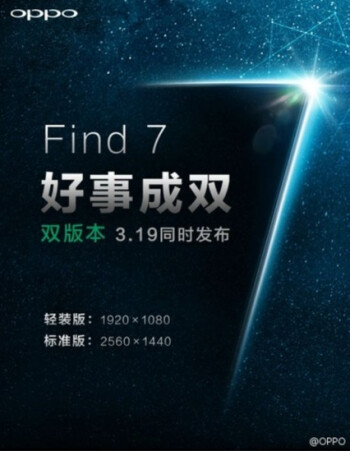 Oppo officially confirms the Find 7 will have 1080p and QHD versions