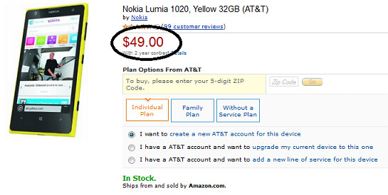 Get AT&T's Nokia Lumia 1020 for $49 from Amazon, with a signed two-year pact - Amazon offering AT&T's Nokia Lumia 1020 for $49 on contract
