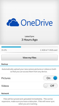 Screenshots from Microsoft OneDrive for BlackBerry 10 - Microsoft OneDrive app for BlackBerry 10 now available from BlackBerry World