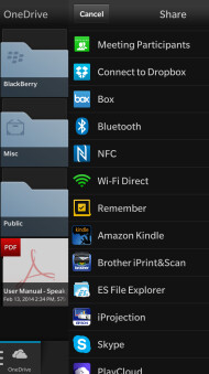 Screenshots from Microsoft OneDrive for BlackBerry 10