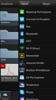 Screenshots from Microsoft OneDrive for BlackBerry 10