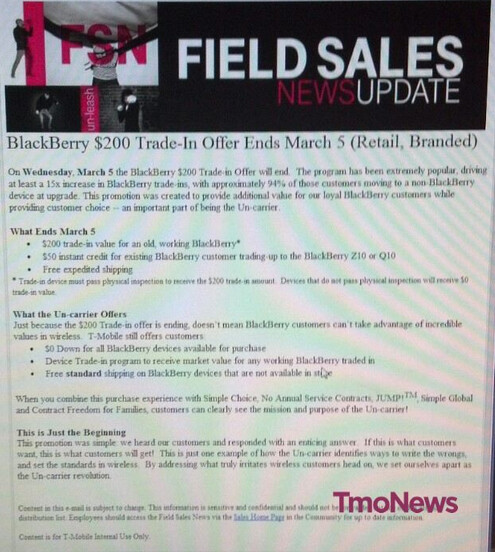 Leaked memo reveals that 94% of those trading in a BlackBerry during T-Mobile's promo switched platforms - 94% of T-Mobile customers trading in a BlackBerry during promotion, switched to another platform