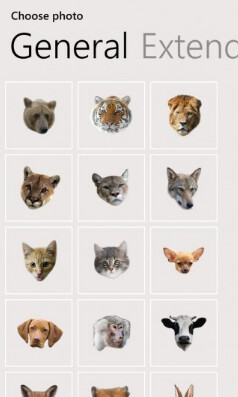Screenshots from Animal Face for Windows Phone