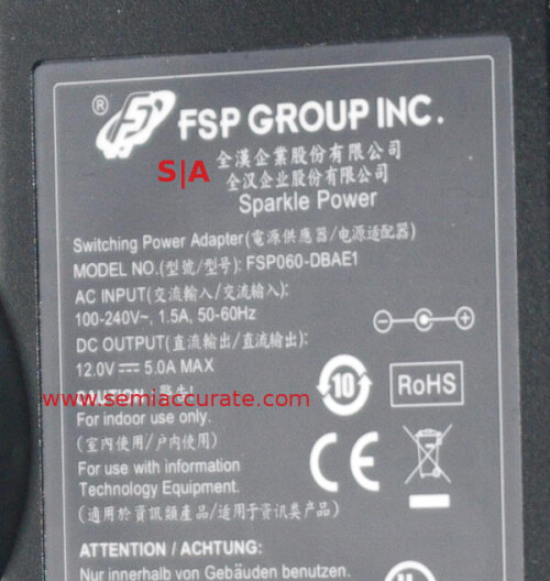 A snap of the power brick for the Tegra K1 demo box