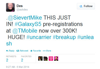 T-Mobile has 300K pre-registrations for the Samsung Galaxy S5