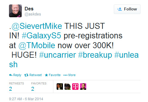 T-Mobile has 300K pre-registrations for the Samsung Galaxy S5 - Samsung Galaxy S5 pre-registrations now number 300,000 at T-Mobile