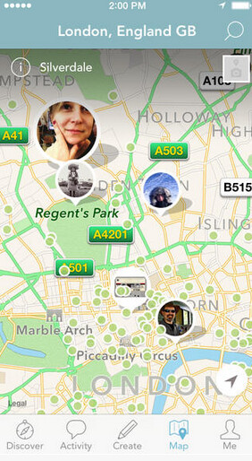 Screenshots from Findery, available for iOS - Findery is a social mapping app from the co-founder of Flickr