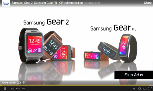 Samsung Galaxy S5, Gear 2 and Gear Fit promoted in YouTube video ads