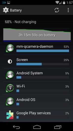 Screenshots from an affected Nexus 5 show off the buggy software process - Google working on a fix for Nexus 5 battery drain